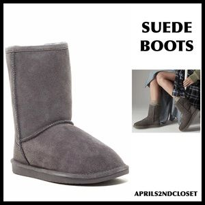 GENUINE SUEDE SHEARLING LINED BOOTIES